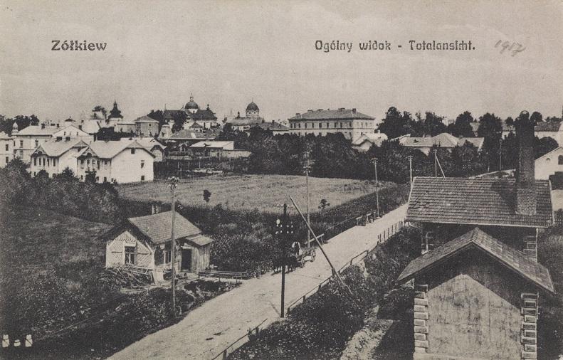 Pocztówka z widokiem ogólnym Żółkwi, 1901-1914; Biblioteka Narodowa