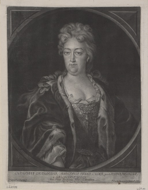 Portret Krystyny Eberhardyny, rycina Bernharda Vogla, 1737; Biblioteka Narodowa