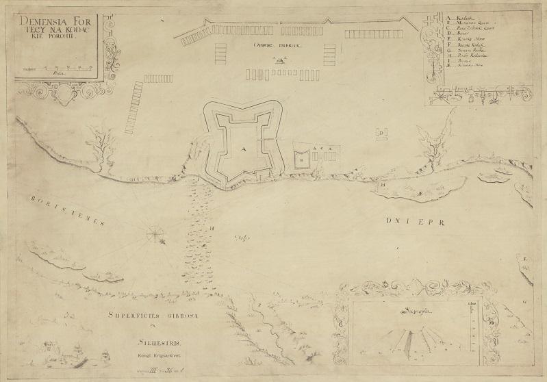 Twierdza Kudak, rycina współautorstwa Friedricha Getkanta, XVII w.; Biblioteka Narodowa