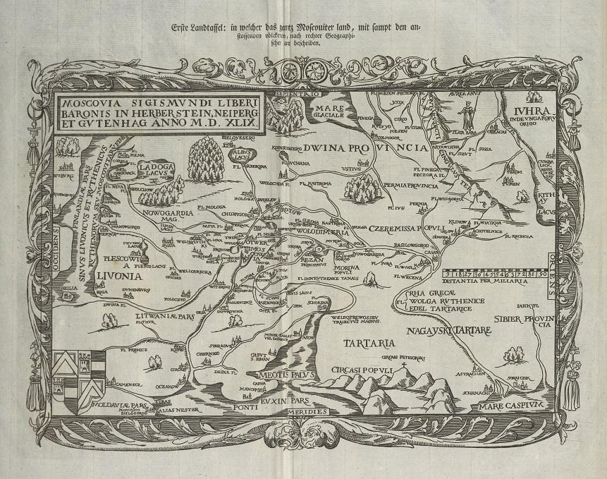 Mapa z zaznaczoną Ordą Nogajską, rycina z dzieła Siegmunda von Herberstein