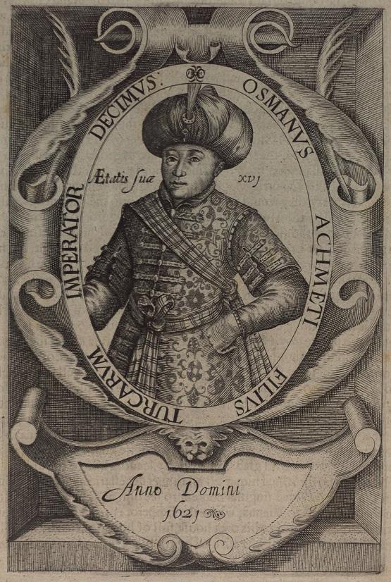 Portret Osmana II, rycina anonimowego rytownika, 1621; The National Library of Wales