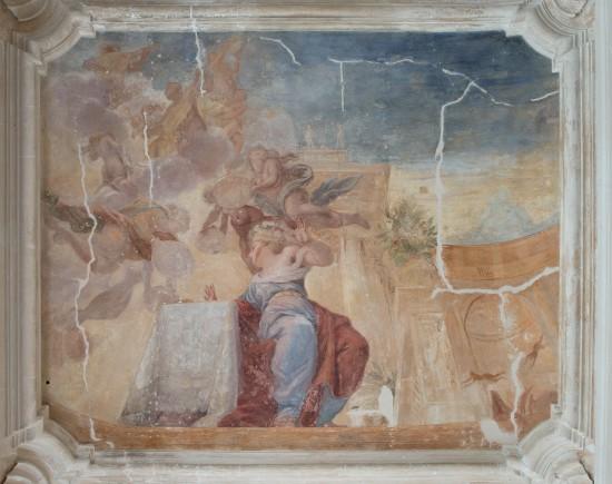 Fresk Michelangela Palloniego w galerii ogrodowej na paretrze pałacu po konserwacji zabezpieczającej, fot. Zbigniew Reszka, Muzeum Pałacu Króla Jana III w Wilanowie.jpg