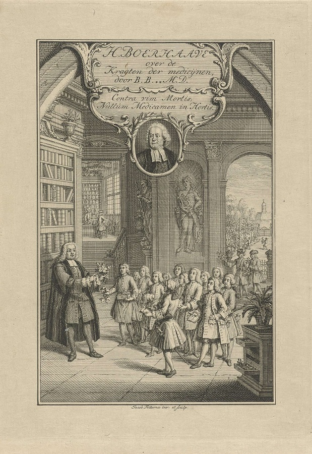 Hermann Boerhaave nauczający lejdejskich studentów botaniki; frontyspis wydanej w 1756 roku książki H. Boerhaave, Verhandeling over de kragten der medicijnen.jpeg