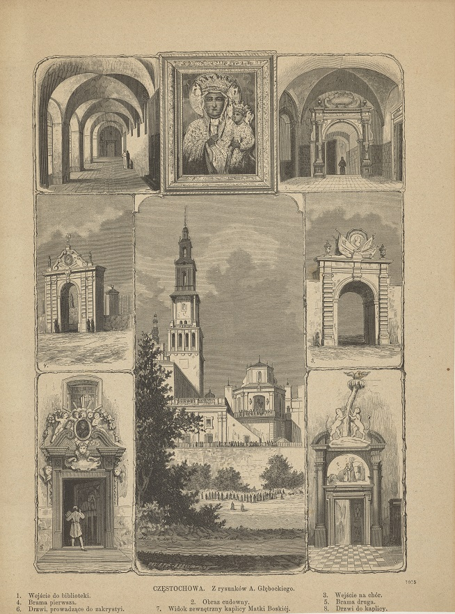 Częstochowa - Kompozycja ośmiu widoków kościoła i klasztoru na Jasnej Górze.jpg