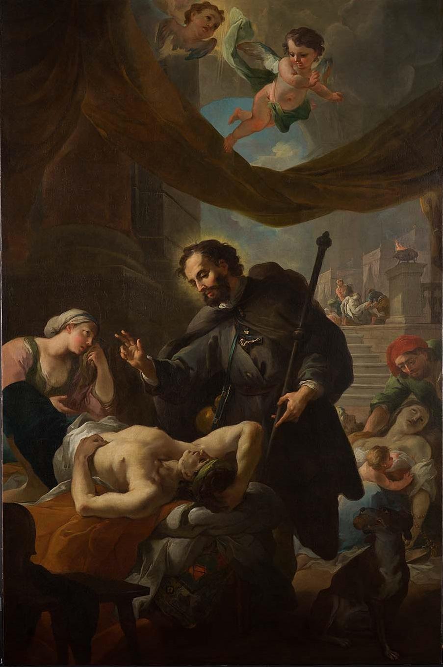 Święty Roch odwiedzający chorych