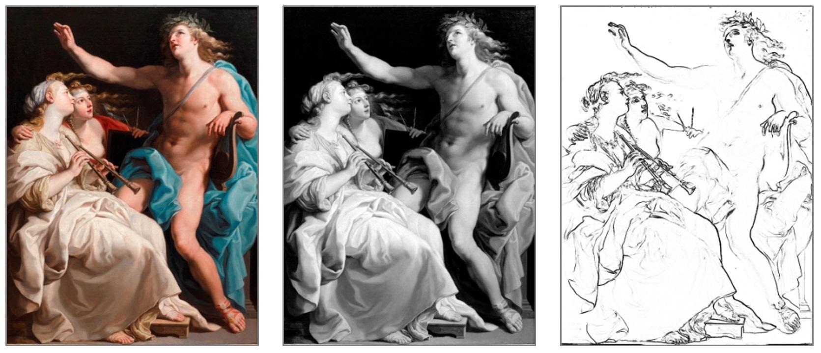 Apollo i dwie Muzy w trzech wersjach: w pełnej gamie kolorów, monochromatycznej i w postaci konturów postaci, ustalonych na podstawie kontrastów ich oświetlenia