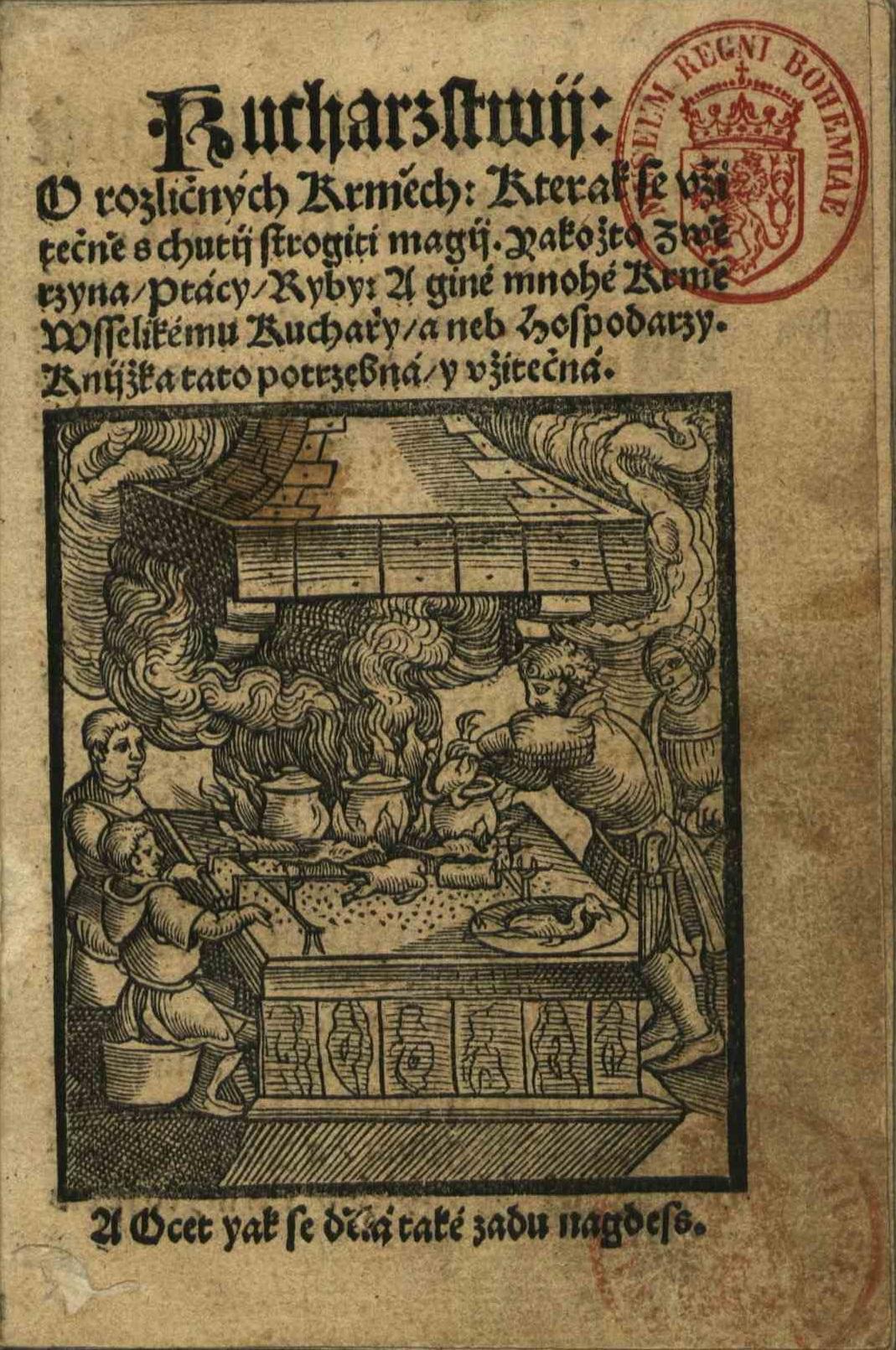 Strona tytułowa czeskiej książki kucharskiej z 1535 roku