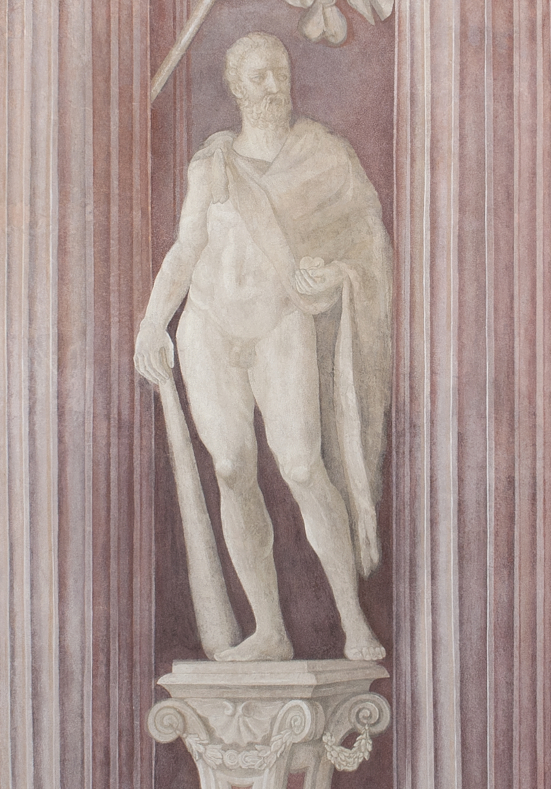 Herkules z jabłkami Hesperyd i skórą z lwa nemejskiego
