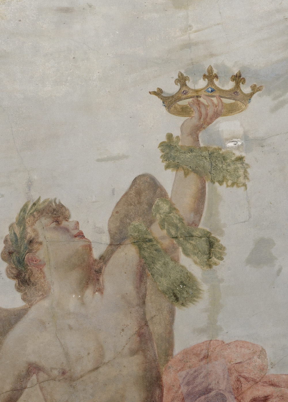 Uskrzydlony młodzieniec z wieńcami i koroną w ręku