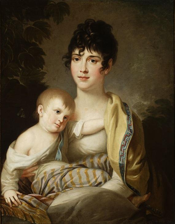 Teofila z Morawskich Radziwiłłowa z synkiem Aleksandrem Dominikiem lub córeczką Stefanią