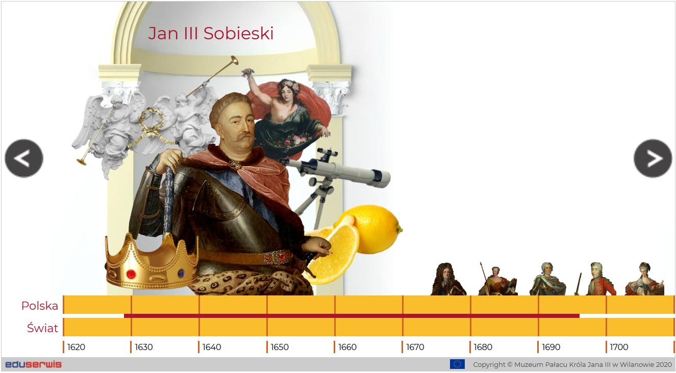 Jan III Sobieski, wokół niego różne motywy, poniżej oś czasu