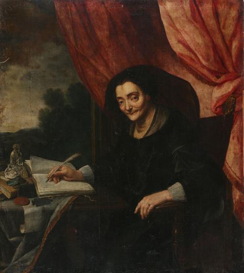 Portret piszącej damy w czerni