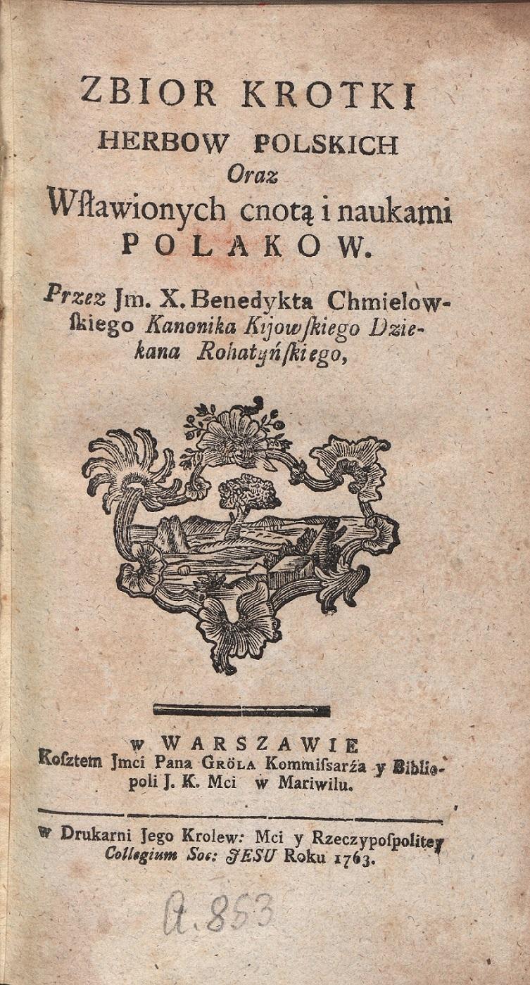 Strona tytułowa z dzieła Benedykta Chmielowskiego