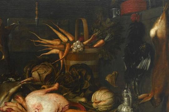 Warsztat kulinarny_Wnętrze kuchni, fragment, Matham Jakob, 1625, Muzeum Pałacu Króla Jana III w Wilanowie.jpg