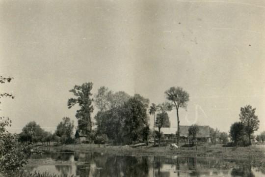 Na pierwszym planie tafla wody.  Na drugim – drzewa nad brzegiem i domy.