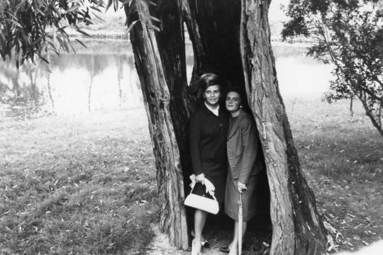 Dwie kobiety stoją razem w pustym wnętrzu pnia drzewa.