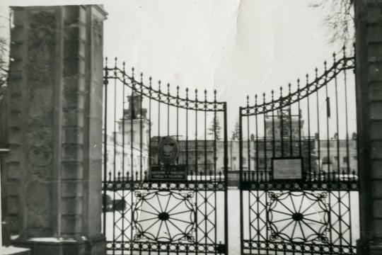 Zbliżenie na Bramę Główną, w oddali zarys pałacu.