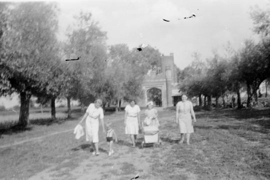 Kobiety z dziećmi idą przez pole. Po obu stronach drzewa w równym rzędzie. Za nimi neogotycka brama.