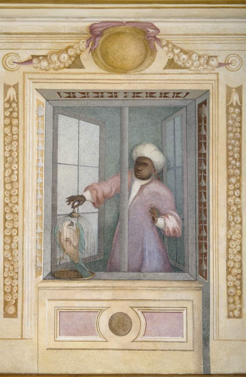 Fresk z przedstawieniem mężczyzny z papugą w klatce