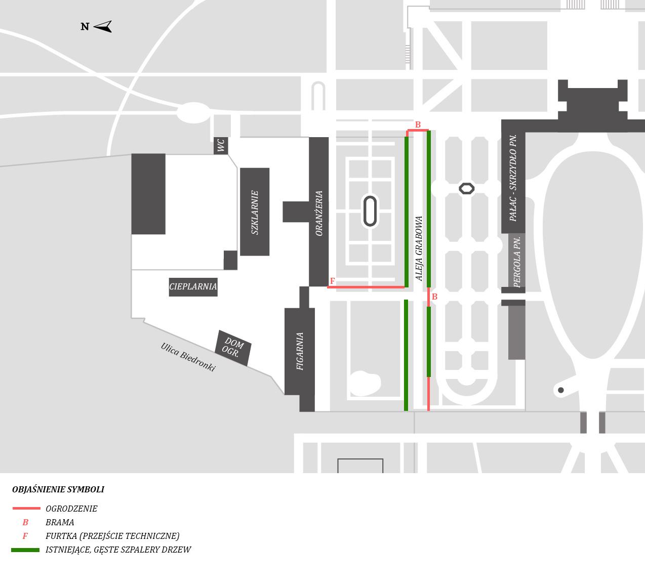 Fragment planu terenu muzeum z zaznaczeniem miejsca remontu Alei Grabowej