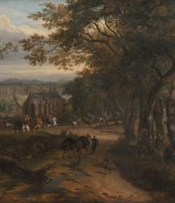 Orszak królewski na tle krajobrazu, mal. Adam Frans van den Meulen, XVII w., z kolekcji Muzeum Pałacu w Wilanowie
