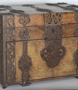 Kufer podróżny z XVIII w., z kolekcji Muzeum Pałacu w Wilanowie