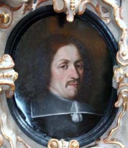 Portret Zachariasz Zappio z epitafium w kościele św. Jana w Gdańsku