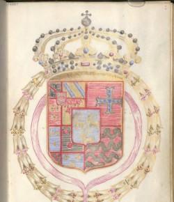 Karta z modlitewnika z herbem Marii Kazimiery de la Grange d'Arquien