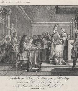 Zaślubiny Marii Klementyny Sobieskiej wg XVIII-wiecznej grafiki ze zbiorów Biblioteki Narodowej
