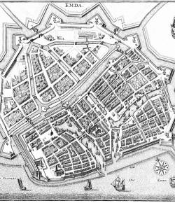 Plan Emden,Matthäus Merian, XVII w., źródło ilustracji: Wikipedia