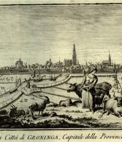 Widok Groningen, w: Thoman Salmon, Lo stato presente..., rycina z XVIII w., Biblioteka Narodowa