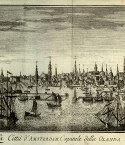 Amsterdam, widok miasta z: Thomas Salmon, Lo stato presente..., XVIII w., Biblioteka Narodowa
