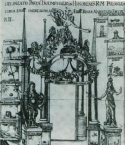 Brama triumfalna na wjazd Jana III do Gdańska, 1677, rytował P. Bock