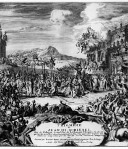 Romeyn de Hooghe, Wjazd Jana III Sobieskiego na koronację do Krakowa 23 XII 1675, ok. 1700, akwaforta, Biblioteka Narodowa w Warszawie