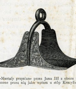 Strzemię wezyra Kara Mustafy zdobyte przez Jana III pod Wiedniem, przechowywane w katedrze na Wawelu, XIX-wieczna grafika