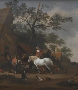 Przed karczmą, mal. Hendricks de Mejer, XVII w., z kolekcji Muzeum Pałacu w Wilanowie
