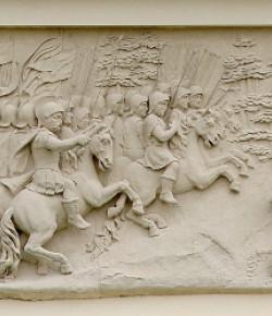 Wyprawa na czambuł tatarskie, płaskorzeźba z fasady pałacu w Wilanowie